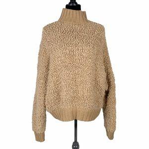 Express Camel Color Mock Neck Teddy Sweater
